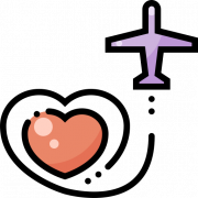 illustration of airplane and love heart